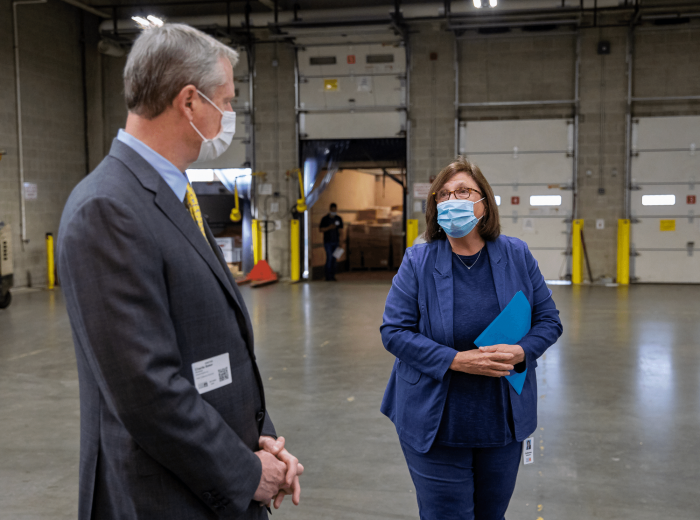 Catherine D'Amato speaks with Governor Charlie Baker Greater Boston Food Bank