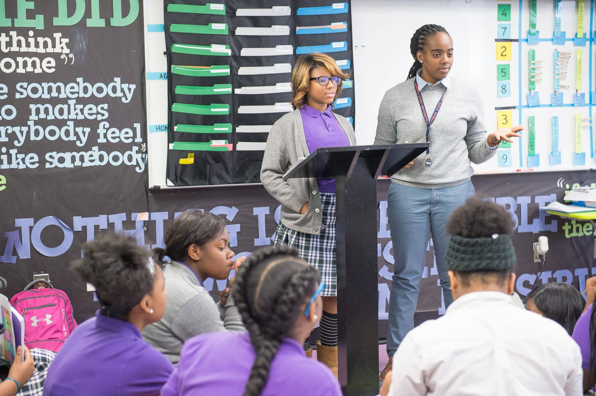 Baltimore-Leadership-School-for-Young-Women-students-presenting