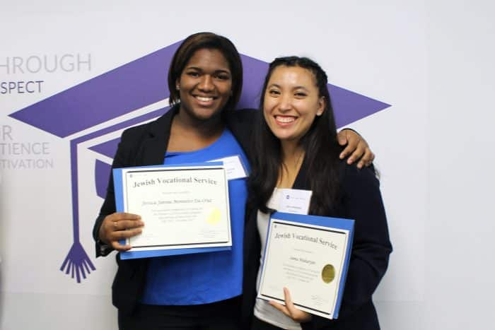 JVS students with diplomas