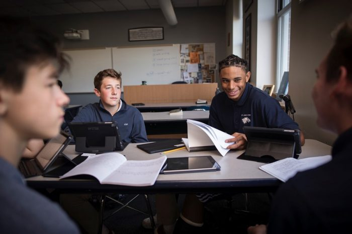 st johns prep students in class