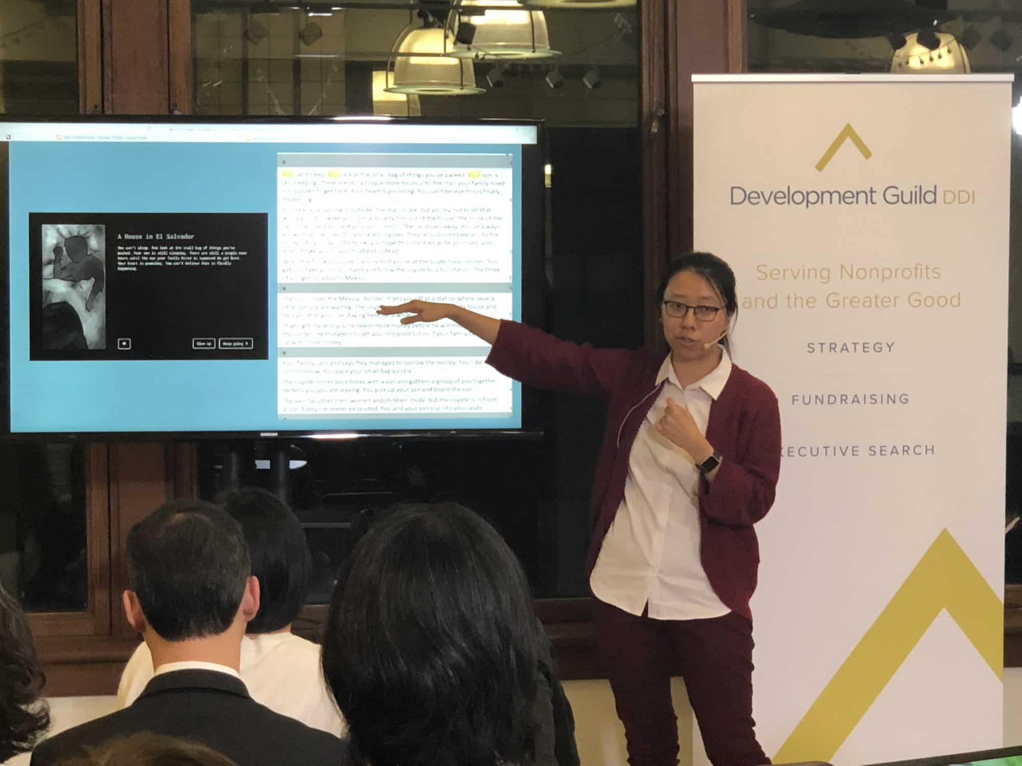 Sisi Wei presenting at Data + the Greater Good Meetup